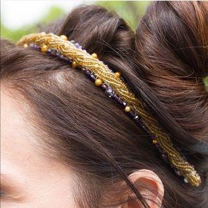 Accessories - Hand Beaded Gold & Lavender Headband
